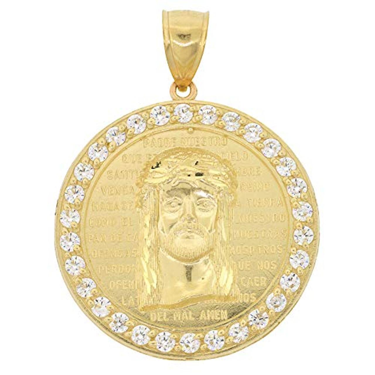 10k Gold Round Jesus Christ Medallion Pendant Shopjw