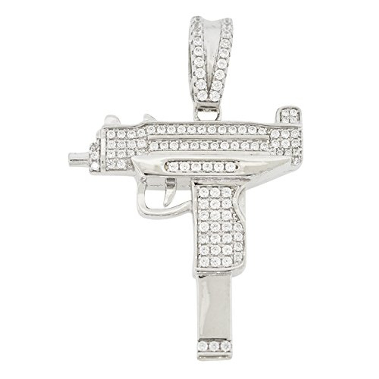925 Silver Uzi Mac 10 Gun Pendant