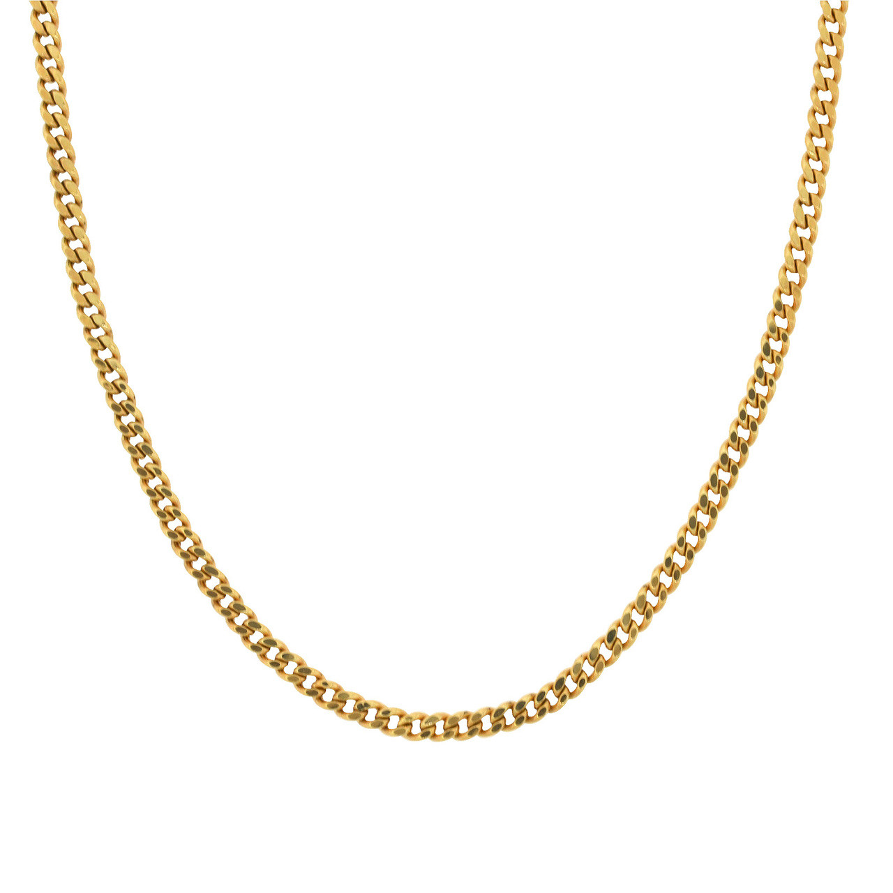 Hollow 18k (750 Stamp) Gold 3mm Cuban Link Chain