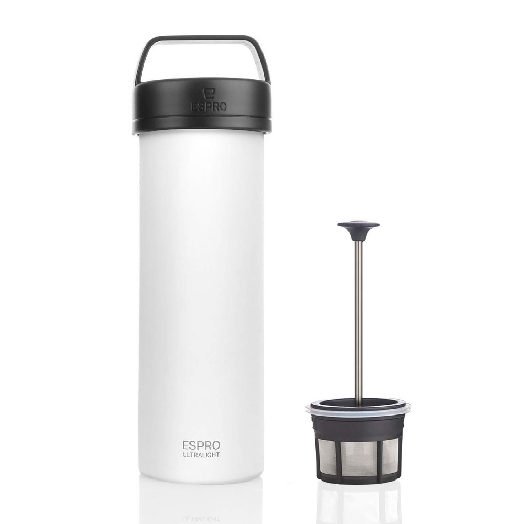 ESPRO Ultralight Stainless Steel Insulated Travel Coffee French Press, 16 oz, Chalk White