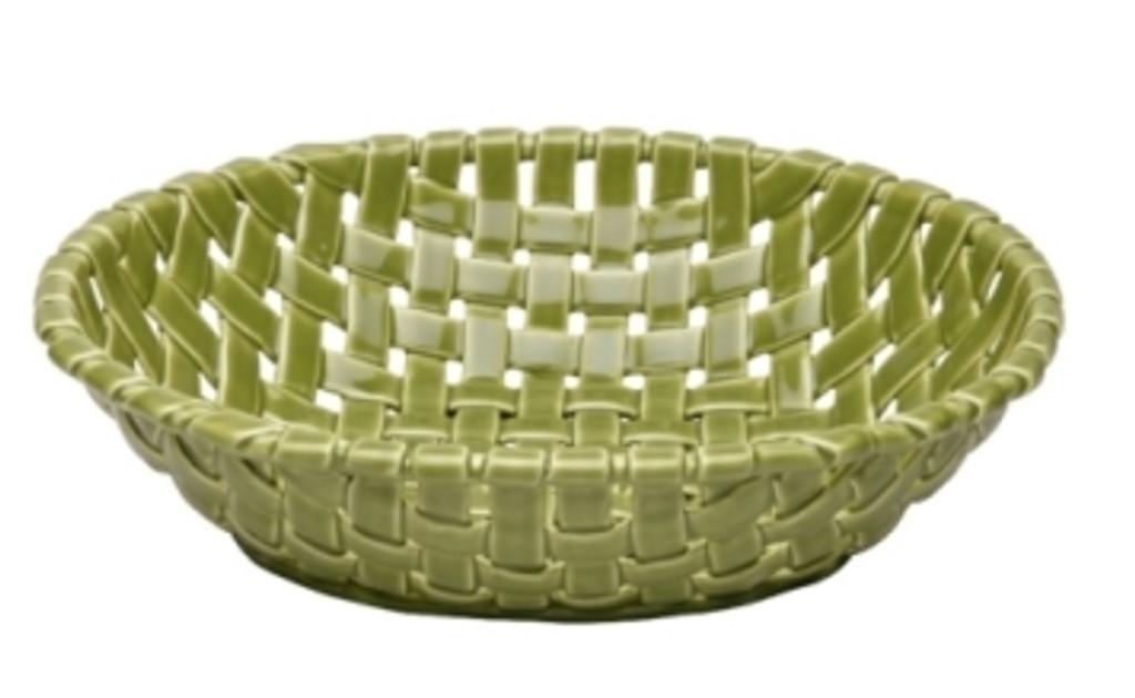 Casafina Ceramic Large Oval Basket Green