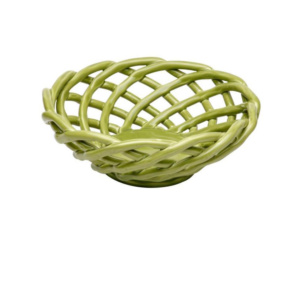 Casafina Ceramic Medium Round Basket Green