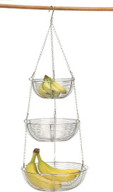 Chrome Woven Wire Hanging Basket