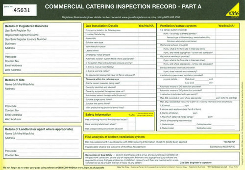 Commercial Catering Inspection Record PAD8