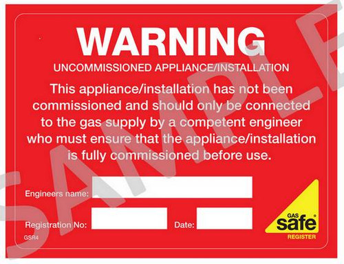 Gas Safe Uncommisioned Appliance Label GSR4 (10 per pack)