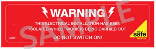 Gas Safe Electrical Isolation Labels GSR5 (10 per pack)