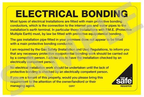 Gas Safe Electrical Bonding Labels GSR7 (10 per pack)