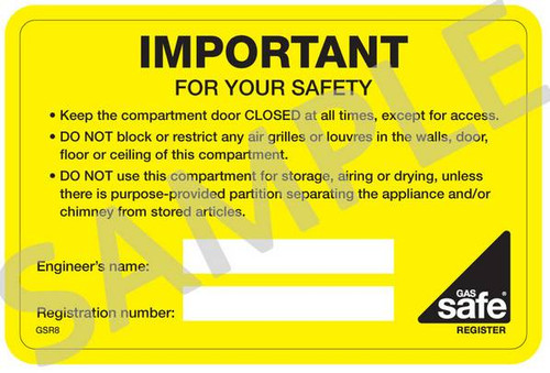 Compartment / Vent Important for your Safety Labels GSR8 (10 per pack)