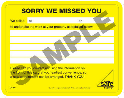 Gas Safe Sorry We Missed You Cards GSR9 (10 per pack)