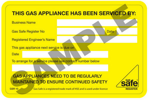 Gas Safe This Gas Appliance Has been Serviced By GSR10 (10 per pack)