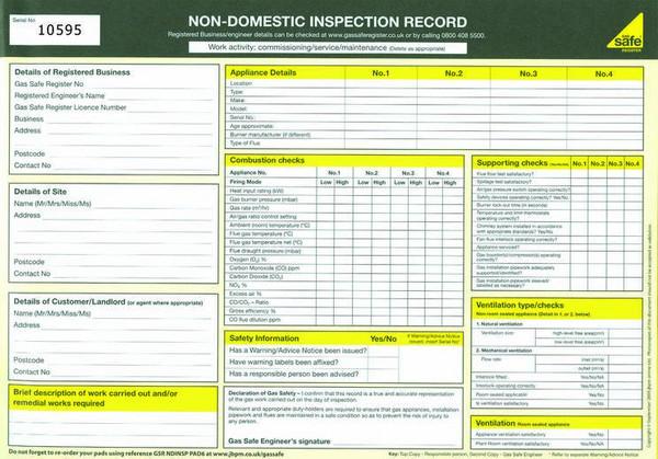 Non Domestic Inspection Record PAD6