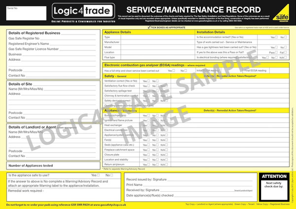 Service-Maintenance Record PAD9