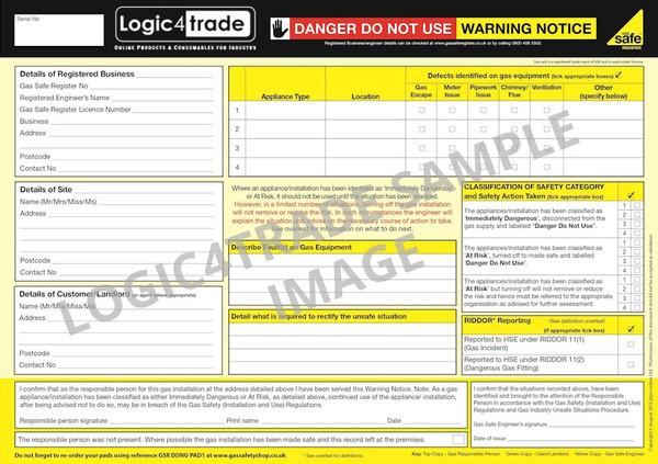Danger Do Not Use Warning Notice PAD1
