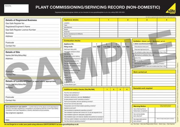 Plant Commissioning-Servicing Record (Non-Domestic) PAD13