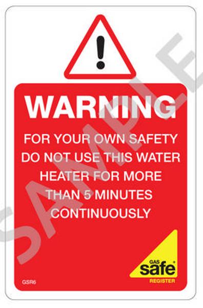 Gas Safe Flueless Labels GSR6 (10 per pack)