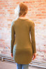 Light olive long sleeve top back view.