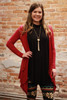 Simply Basics Burgundy Handkerchief Cardigan with Hood front view.