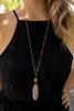 Metal Framed Pink Stone Pendant Necklace