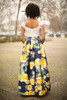 All for Love Ivory and Yellow Floral Gown with Pockets back view.