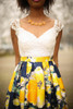 All for Love Ivory and Yellow Floral Gown with Pockets front detail view.