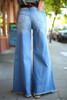 You Had Me at Denim Flared Jeans back view.