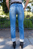 Dashing in Denim Folded Hem Straight Jeans back view.