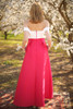 My Oh My Ivory and Sangria Floral Embroidered Gown with Pockets back view.
