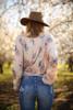 Spring Solstice Natural Floral Printed Top back view.