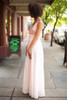 Party on the Dance Floor Cream and Blush Embroidered Gown side view.