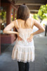 Sweet and Sultry Natural Lace Ruffle Tiered Dress back view.