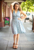 Pretty in Polka Dot Faded Blue Halter Dress full body front view.