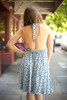 Pretty in Polka Dot Faded Blue Halter Dress back view.