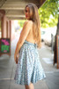 Pretty in Polka Dot Faded Blue Halter Dress side view.