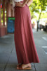 Blissful in Burgundy Cotton Palazzo Pants side view.