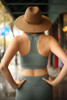 Activated Athletics Teal Blue Burnout Mesh Sports Bra back view.