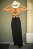 Strappy Chic Black Strappy Back Maxi Dress back view.