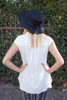 Back to Business Ivory Cap Sleeve Blouse back view.