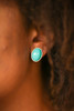 Turquoise Stone and Silver Stud Earrings