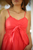 Love In Hot Coral Sleeveless Tie Front Mini Dress front detail view.