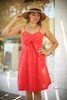 Love In Hot Coral Sleeveless Tie Front Mini Dress front view.