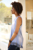 Whimsical in Waffle Knit Blue Sleeveless Top side view.