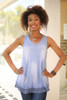 Whimsical in Waffle Knit Blue Sleeveless Top front view.