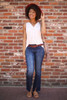 Beautifully and Vertically Lined Flared Jeans full body front view.