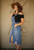 Fun For All Distressed Denim Overall Dress side view.