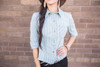 Light Blue and Dandy Striped Button Up Top