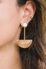 Modern Metal Gold Half Circle Drop Earrings
