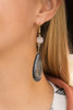 Black Marble Druzy Teardrop Earrings