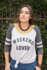Weekend Lover Graphic Oatmeal Long Sleeve Top front view.
