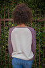 Art of Love Ash Color Block Long Sleeve Top back view.