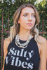 Salty Vibes Graphic Black Sleeveless Tank Top